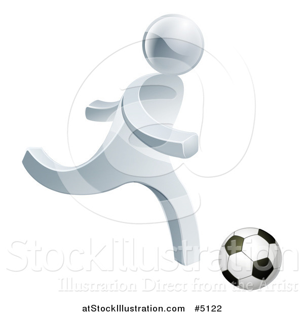 Vector Illustration of a 3d Silver Man Playing Soccer