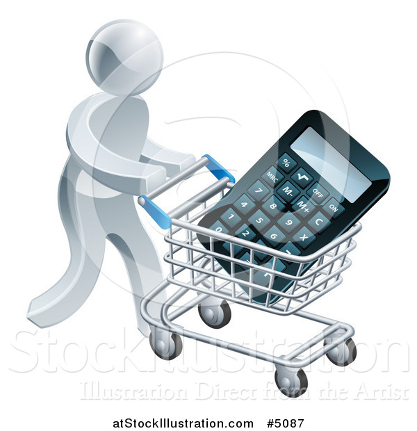 Vector Illustration of a 3d Silver Man Pushing a Calculator in a Shopping Cart