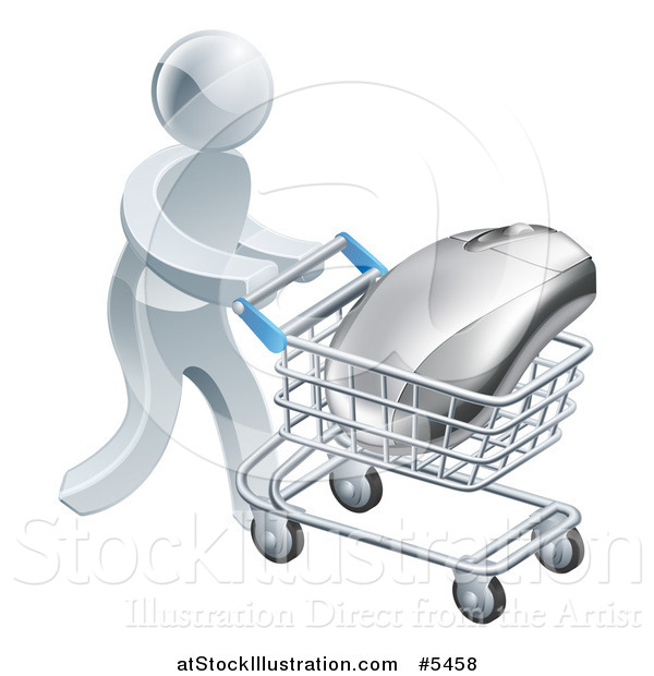 Vector Illustration of a 3d Silver Man Pushing a Computer Mouse in a Shopping Cart