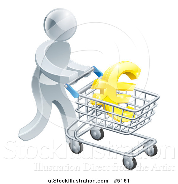 Vector Illustration of a 3d Silver Man Pushing a Euro in a Shopping Cart