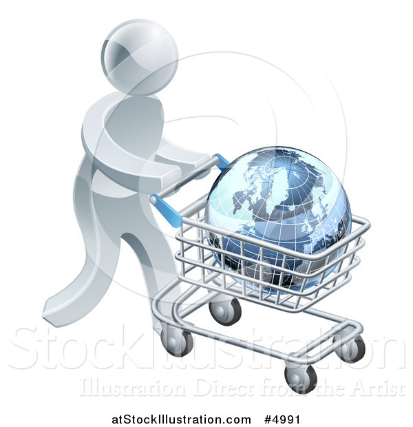 Vector Illustration of a 3d Silver Man Pushing a Globe in a Shopping Cart