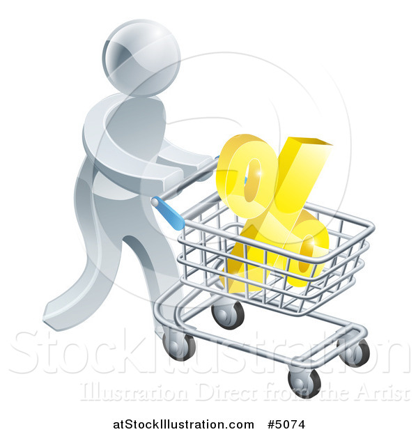 Vector Illustration of a 3d Silver Man Pushing a Percent Symbol in a Shopping Cart