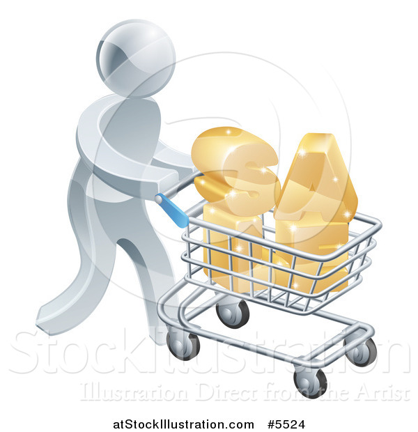 Vector Illustration of a 3d Silver Man Pushing SALE in a Shopping Cart