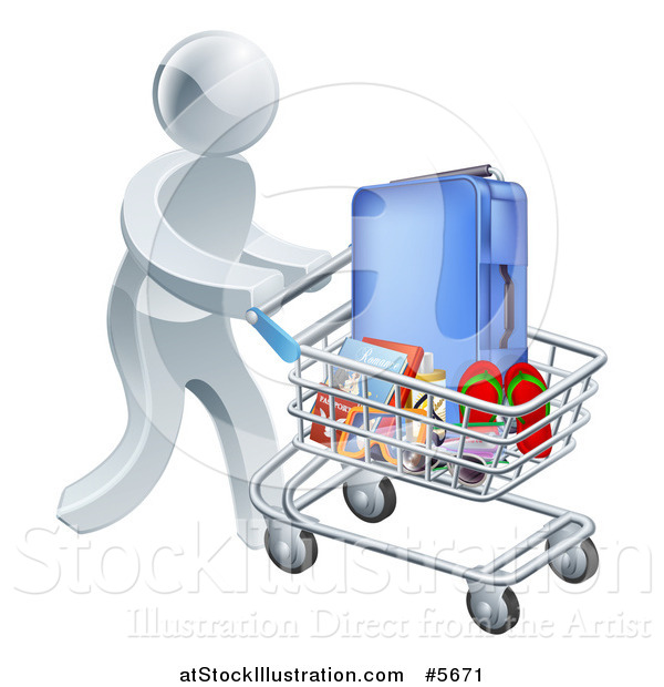 Vector Illustration of a 3d Silver Man Pushing Travel Accessories in a Shopping Cart