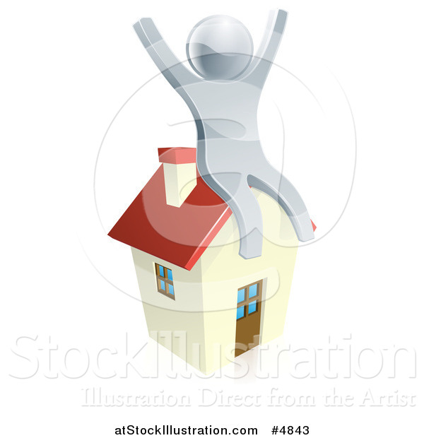 Vector Illustration of a 3d Silver Man Sitting and Cheering on a House