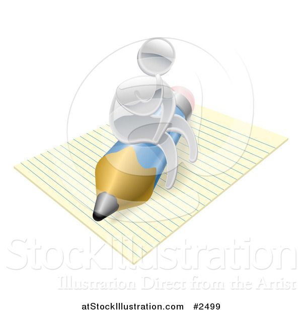 Vector Illustration of a 3d Silver Man Thinking and Sitting on a Pencil and Notepad