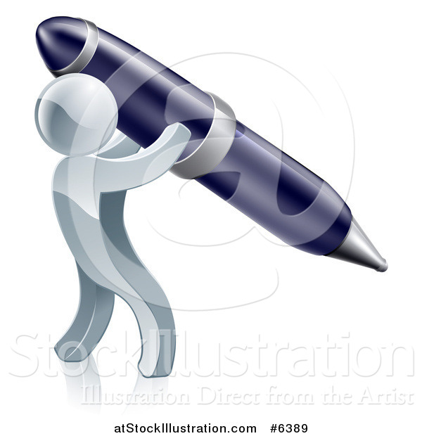 Vector Illustration of a 3d Silver Man Using a Giant Pen