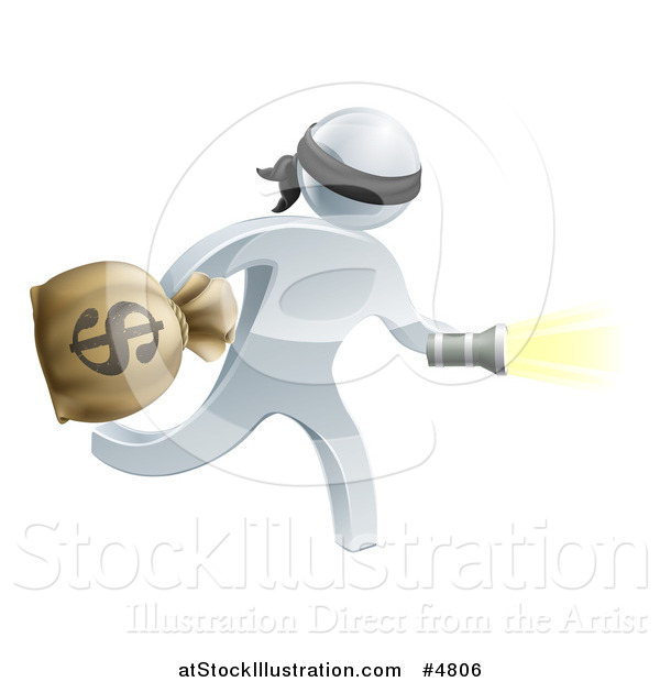 Vector Illustration of a 3d Silver Masked Robber Running with a Money Bag and Flashlight