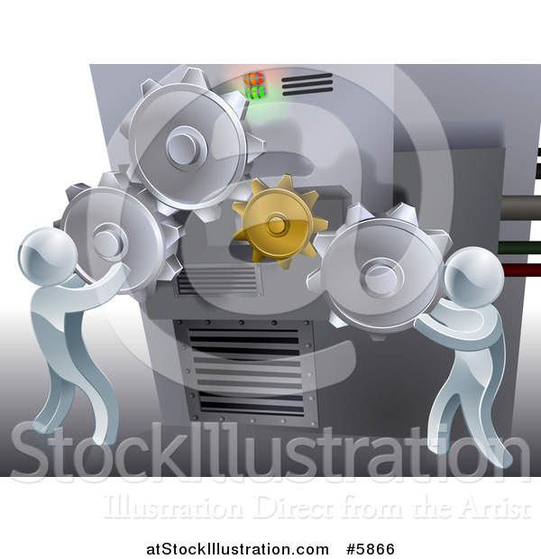 Vector Illustration of a 3d Silver Men Adjusting Gear Cogs on a Machine