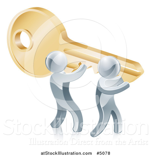Vector Illustration of a 3d Silver Men Carrying a Giant Key to Success