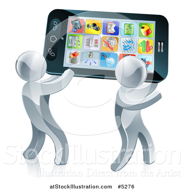 Vector Illustration of a 3d Silver Men Carrying a Giant Smartphone