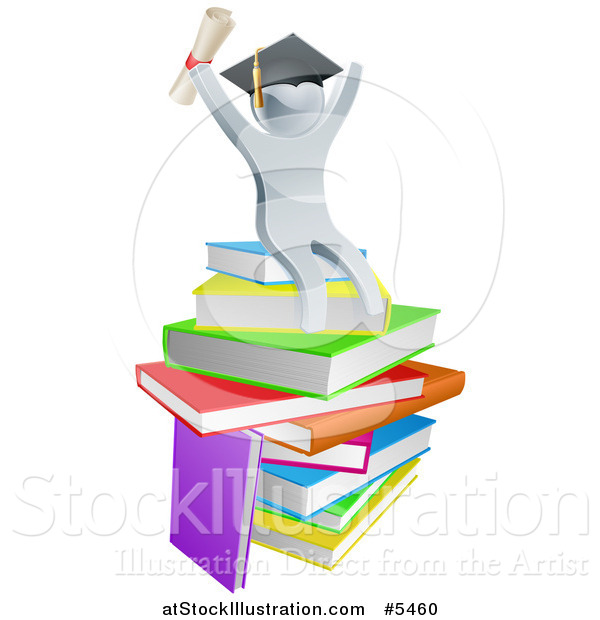 Vector Illustration of a 3d Silver Person Graduate Cheering, Holding a Diploma and Sitting on a Stack of Books