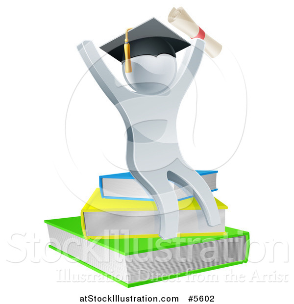 Vector Illustration of a 3d Silver Person Graduate Cheering with a Diploma and Sitting on a Stack of Books