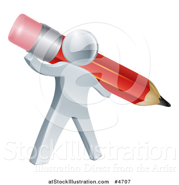 Vector Illustration of a 3d Silver Person Holding a Giant Red Pencil
