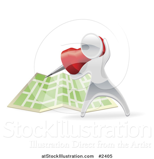 Vector Illustration of a 3d Silver Person Pinning a Location on a Map