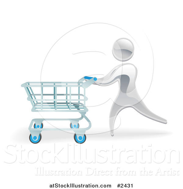 Vector Illustration of a 3d Silver Person Pushing a Shopping Cart