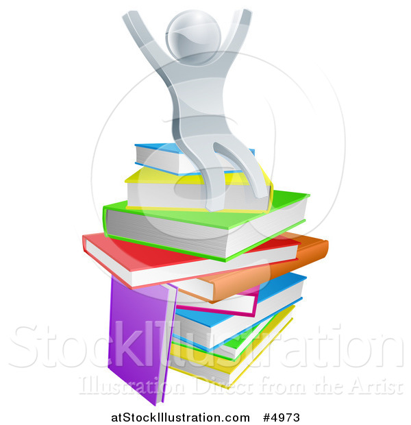 Vector Illustration of a 3d Silver Person Sitting and Cheering on a Stack of Books