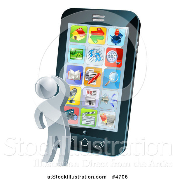 Vector Illustration of a 3d Silver Person Thinking and Looking at App Icons on a Giant Smart Phone