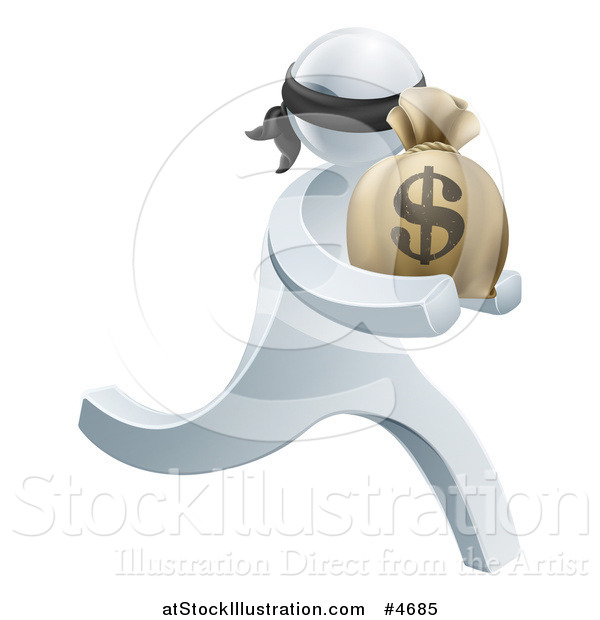 Vector Illustration of a 3d Silver Robber Carrying a Money Bag
