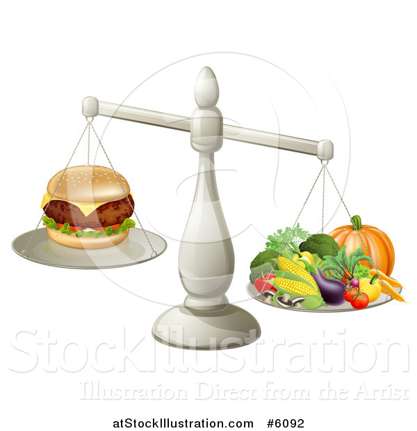 Vector Illustration of a 3d Silver Scale Comparing a Cheeseburger As Better Than Produce