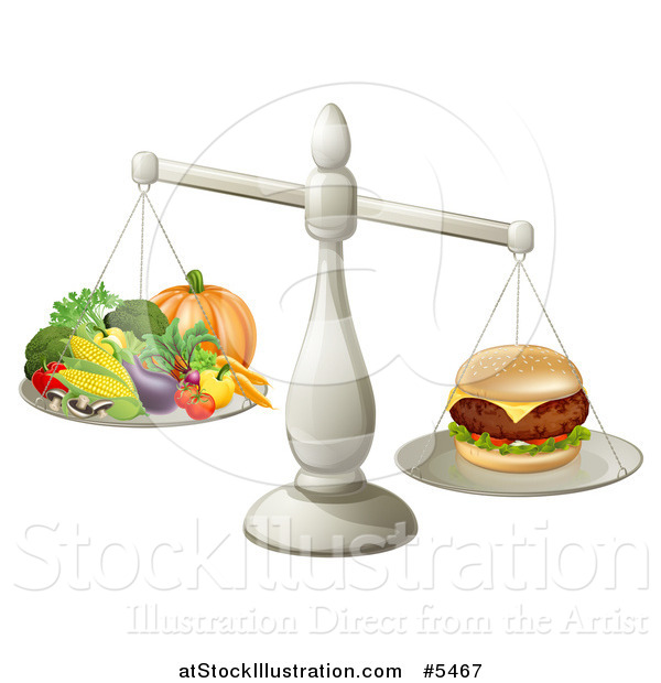 Vector Illustration of a 3d Silver Scale Comparing a Cheeseburger to Produce
