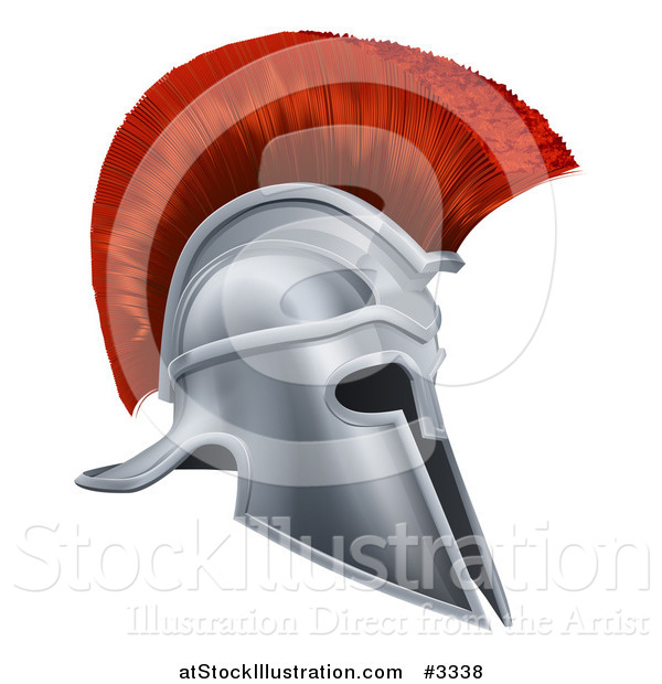 Vector Illustration of a 3d Silver Trojan Spartan Helmet with a Red Mohawk