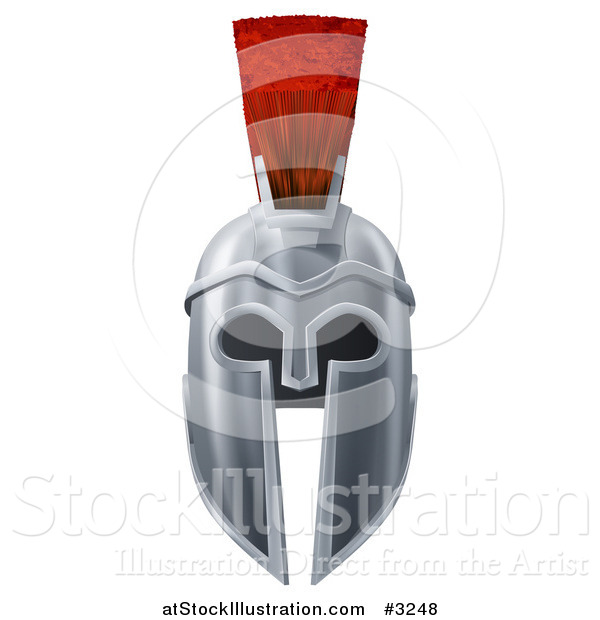 Vector Illustration of a 3d Silver Trojan Spartan Helmet with a Red Mohawk from the Front