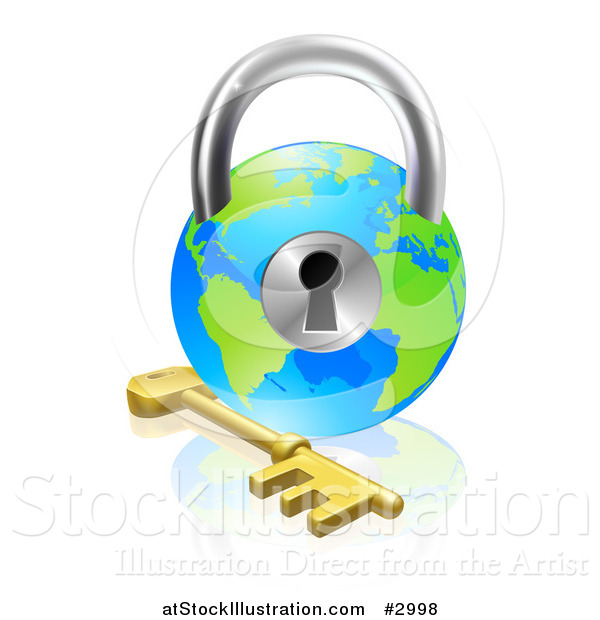 Vector Illustration of a 3d Skeleton Key and Globe Padlock