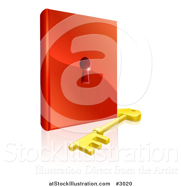 Vector Illustration of a 3d Skeleton Key and Padlock Book
