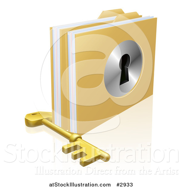 Vector Illustration of a 3d Skeleton Key by Locked Secure Folders with a Key Hole