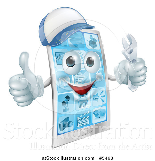 Vector Illustration of a 3d Smart Phone Character Wearing a Hat, Holding a Thumb up and a Wrench