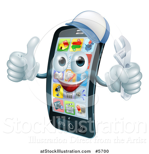 Vector Illustration of a 3d Smart Phone Character Wearing a Hat, Holding a Thumb up and an Adjustable Wrench