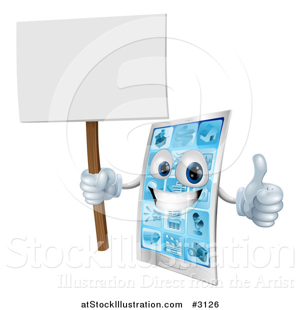 Vector Illustration of a 3d Smart Phone Mascot Holding a Thumb up and a Blank Sign