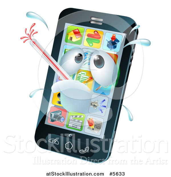 Vector Illustration of a 3d Smart Phone Sick with a Malware Fever