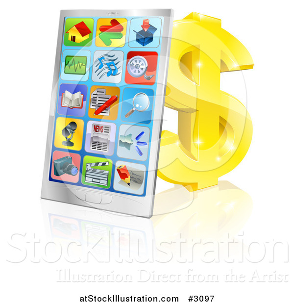 Vector Illustration of a 3d Smart Phone with App Icons Leaning Against a Gold Dollar Symbol