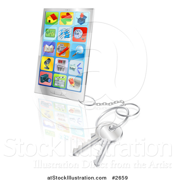 Vector Illustration of a 3d Smart Phone with Apps and Attached Keys