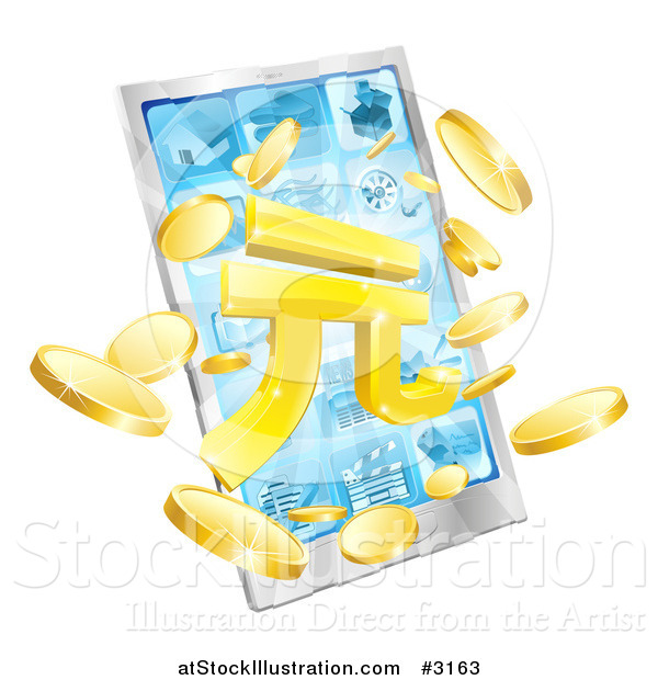 Vector Illustration of a 3d Smart Phone with Yuan and Coins Bursting from the Screen