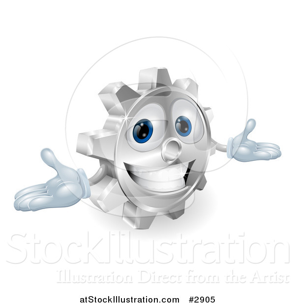 Vector Illustration of a 3d Smiling Gear Cog with Open Arms