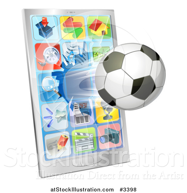 Vector Illustration of a 3d Soccer Ball Flying Through and Breaking a Cell Phone Screen