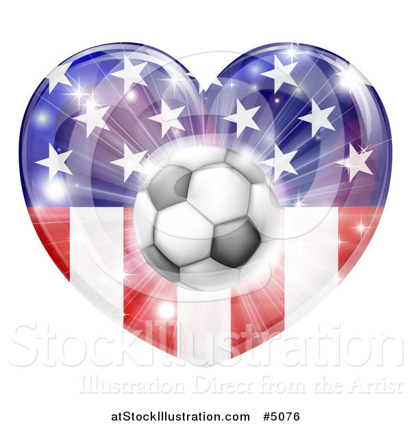Vector Illustration of a 3d Soccer Ball over an American Flag Heart and Burst of Fireworks
