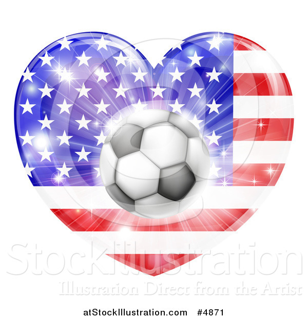 Vector Illustration of a 3d Soccer Ball over an American Flag Heart and Fireworks
