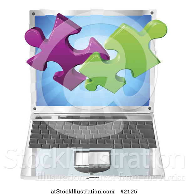 Vector Illustration of a 3d Solution Puzzle Pieces over a Laptop Computer