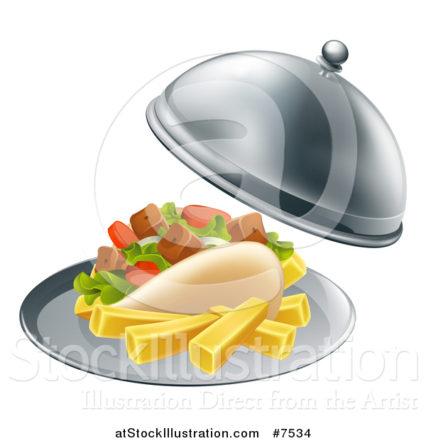 Vector Illustration of a 3d Souvlaki Kebab Sandwich and French Fries Being Served in a Cloche Platter