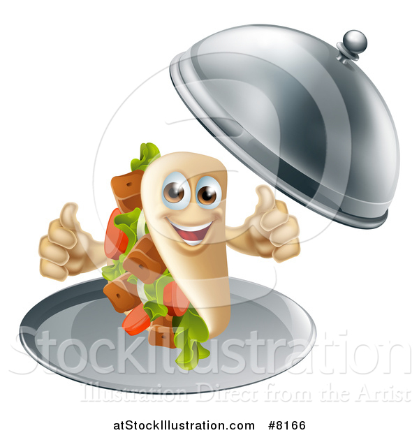 Vector Illustration of a 3d Souvlaki Kebab Sandwich Character Giving Two Thumbs up and Being Served in a Cloche Platter