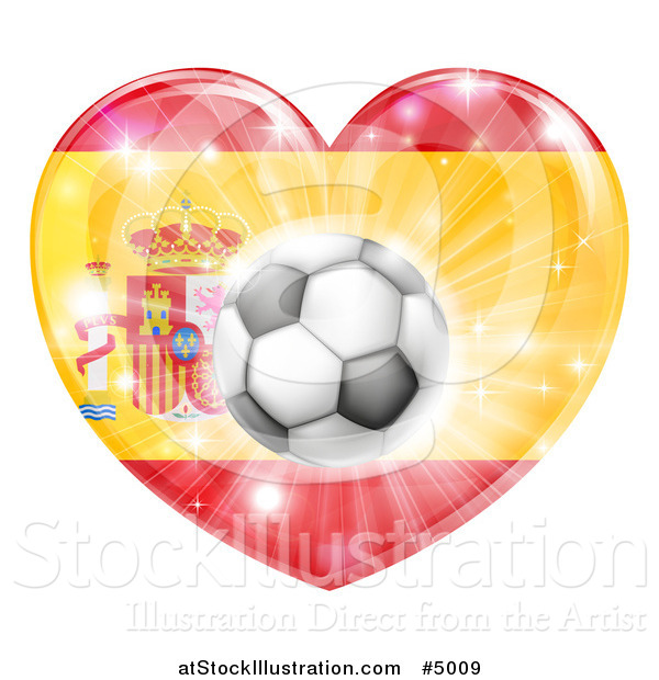 Vector Illustration of a 3d Spanish Flag Heart and Soccer Ball