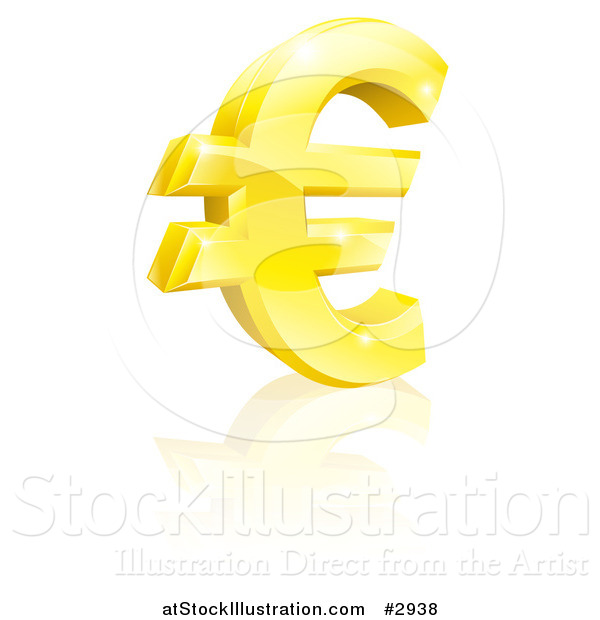 Vector Illustration of a 3d Sparkling Gold Euro Currency Symbol