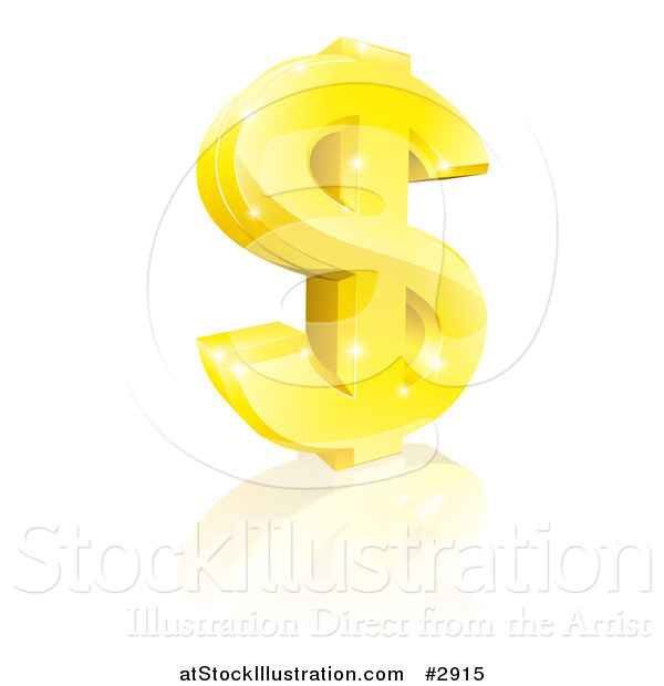 Vector Illustration of a 3d Sparkling Gold USD Dollar Currency Symbol