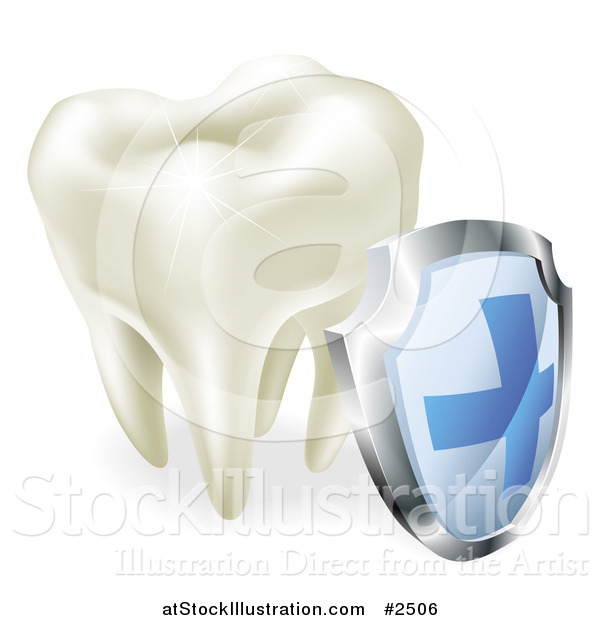 Vector Illustration of a 3d Sparkling Tooth and Shield