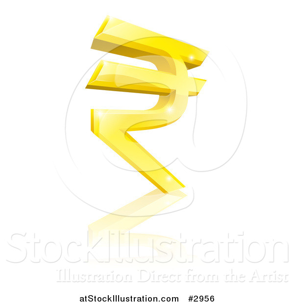 Vector Illustration of a 3d Sparkly Gold Rupee Currency Symbol and Reflection