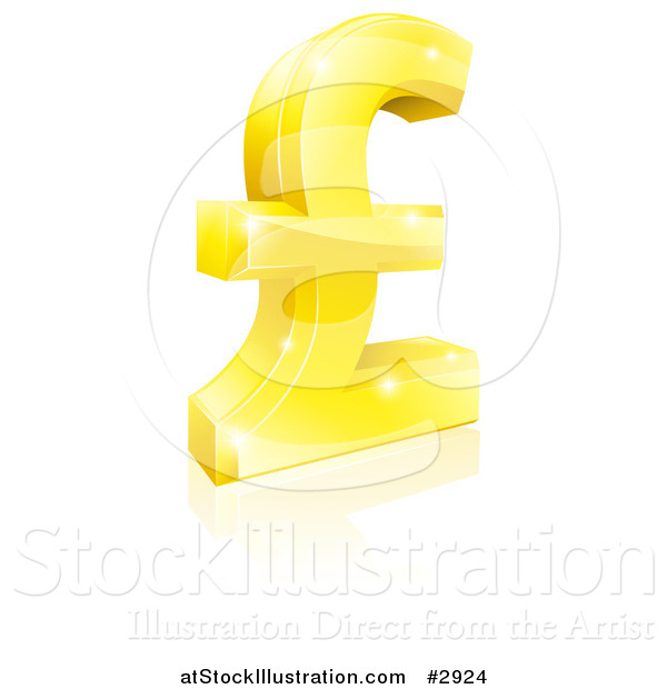 Vector Illustration of a 3d Sparkly Golden Pound Sterling Lira Symbol